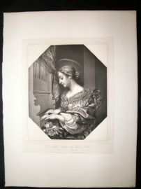 After Carlo Dolci C1840 LG Folio Print. St. Cecillia. Pretty Lady